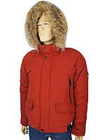 Чоловіча стильна зимова куртка Black vinyl C19-1570 11 # Red червоного кольору