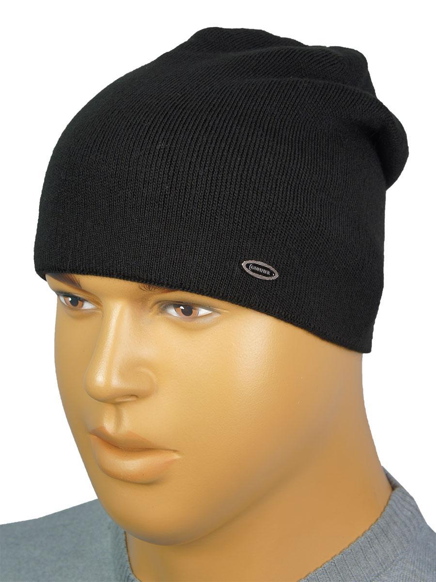 Чоловіча шапка на флісі Gunner G-2019 black в чорному кольорі
