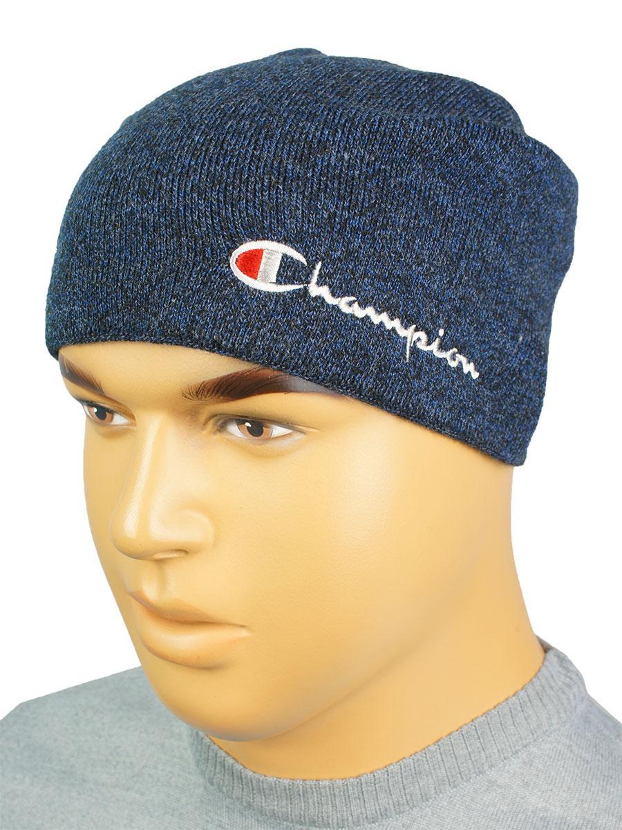 Тепла чоловіча шапка Champion C-2019 jeans синього кольору