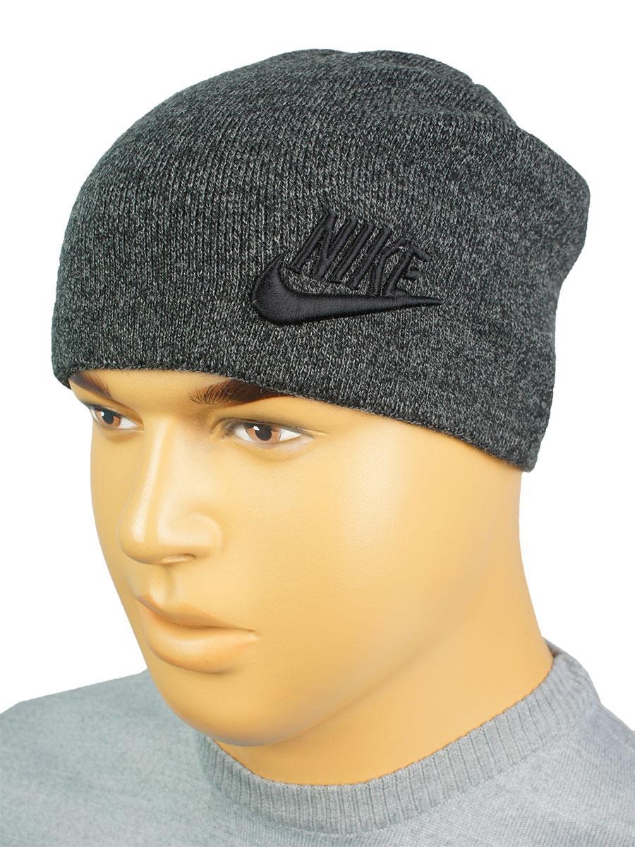 Сіра чоловіча утеплена шапка репліка N N 18 grey melange