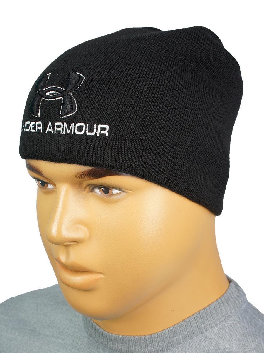 Утеплена чоловіча шапка копія U A UA-2019 black чорного кольору