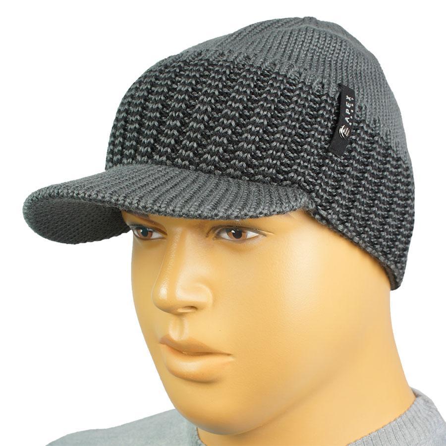В'язана чоловіча шапка з козирком Apex Sport К0 35 grey в сірому кольорі