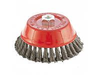 """Щетка для УШМ (болгарки), 100 мм, М14, """"чашка"""", витая проволока 0,35 мм MTX 746159"""