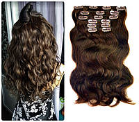 Волосы трессы на заколках на вид как натуральные 10 прядей длина 45см №2/30 золотистый каштан для объема