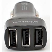 Зарядное устройство автомобильное Grand-X CH-33 (3.1A) black (прикуривателя автомобиля 12 / 24V-> 3 порта USB