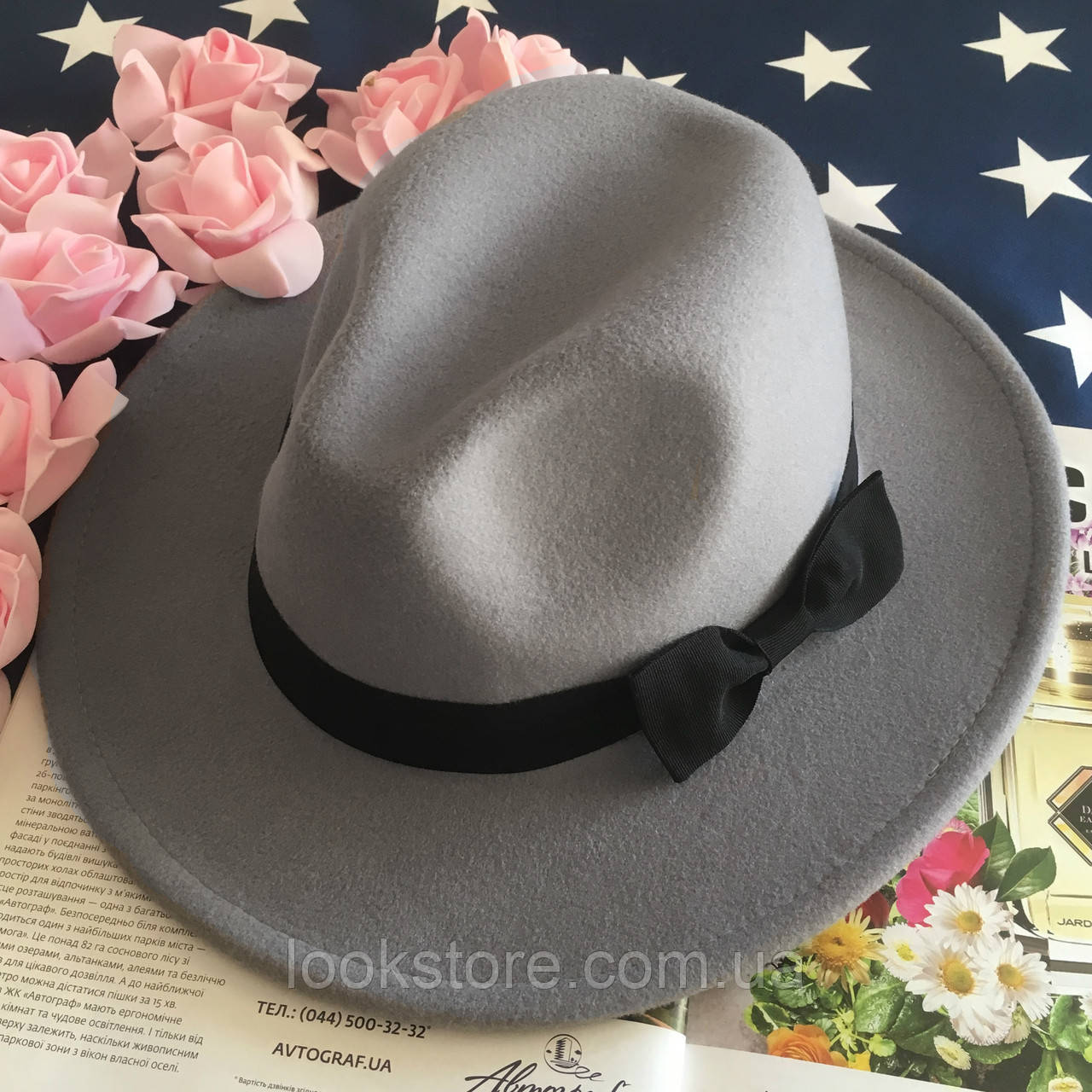 Шляпа Федора унисекс с устойчивыми полями и бантиком серая