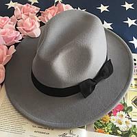 Шляпа Федора унисекс с устойчивыми полями и бантиком серая, фото 1
