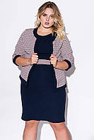 Женский комплект из платья и жакета темно-синего цвета. Модель 23070. Размеры 50-60