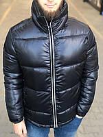Черная куртка мужская зимняя теплая дутая до -15° курточка мужская дутая темная наполнитель холофайбер
