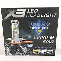 LED Лампы X3 Philips 50W (Цоколь H1) (лэдавтолампы с активным охлаждением и ip67)+ПОДАРОК!, фото 4
