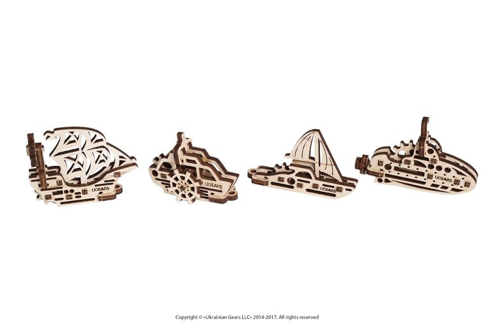 Фиджеты Корабли Набор из 4 шт | UGEARS | Механический 3D конструктор из дерева