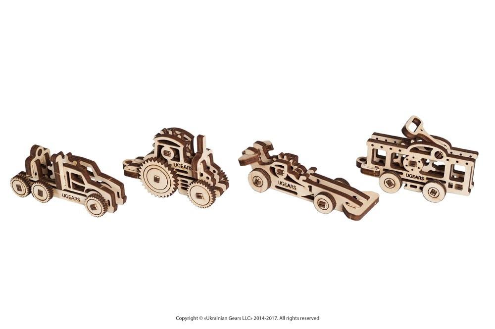 Фиджеты - Наземный транспорт. Набор из 4 шт   UGEARS   Механический 3D конструктор из дерева