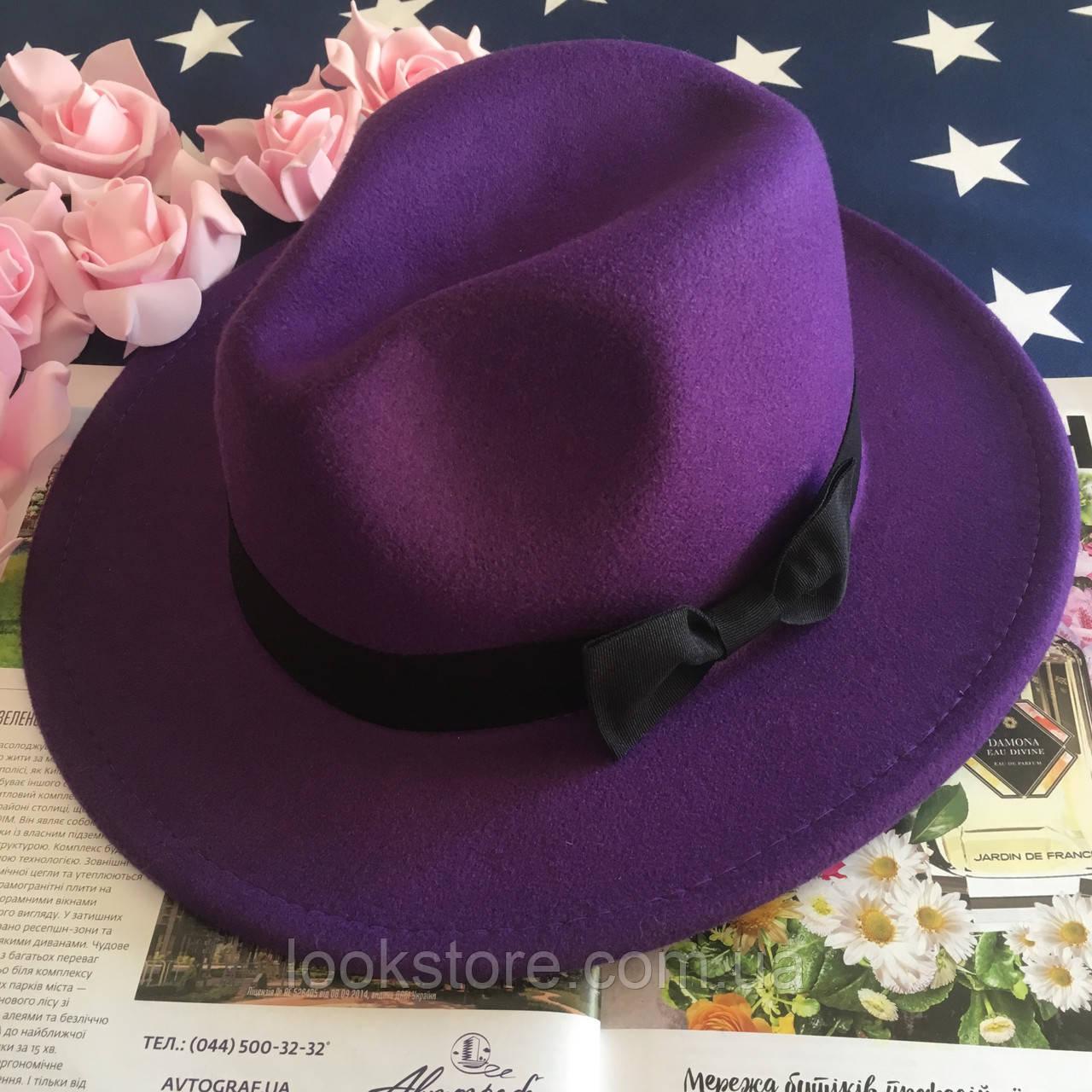 Шляпа Федора унисекс с устойчивыми полями и бантиком фиолетовая