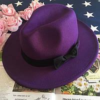 Шляпа Федора унисекс с устойчивыми полями и бантиком фиолетовая, фото 1