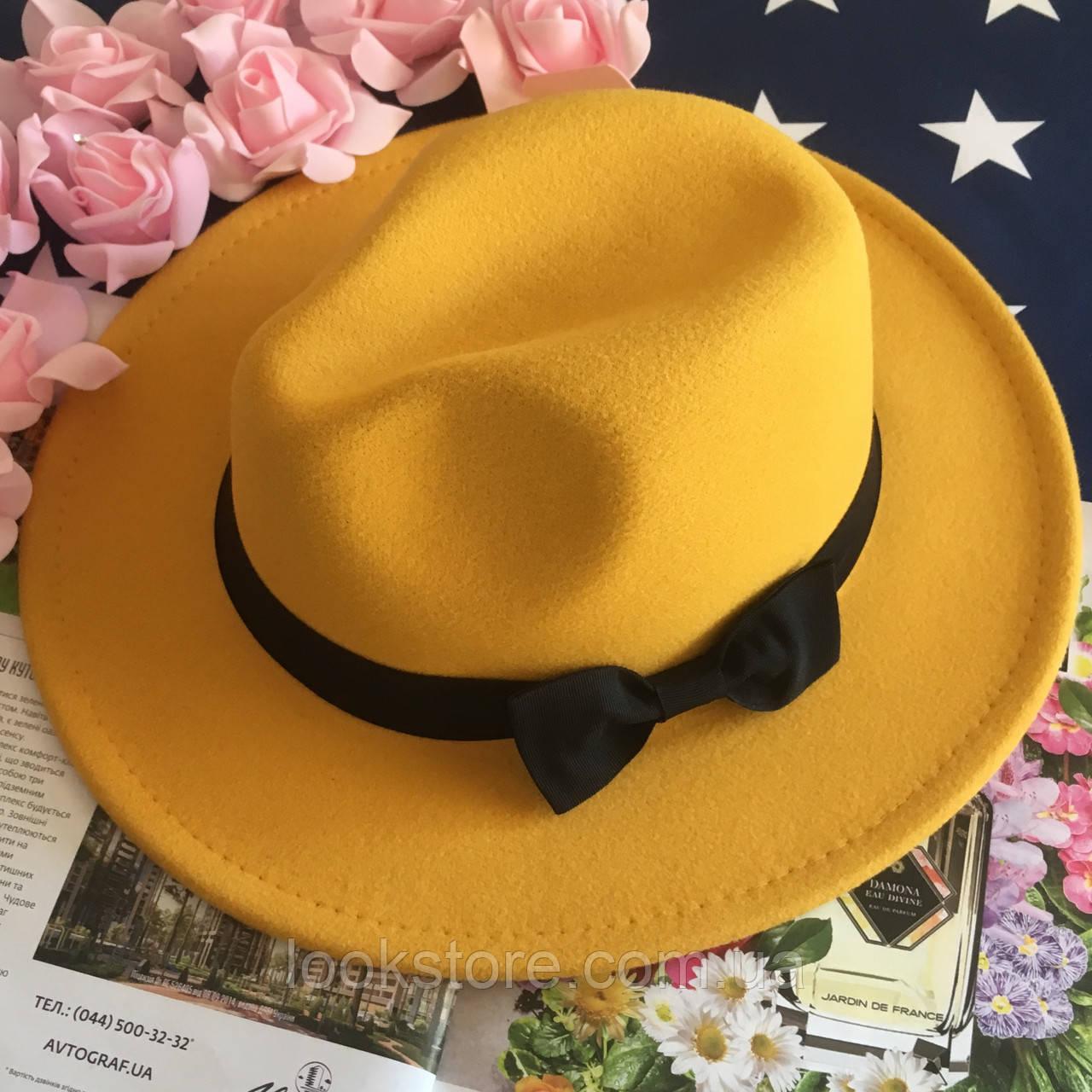 Шляпа Федора унисекс с устойчивыми полями и бантиком желтая