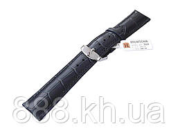 Ремешок для наручных часов кожаный Hightone HT-360 с классической застежкой, черный, 20x180 мм
