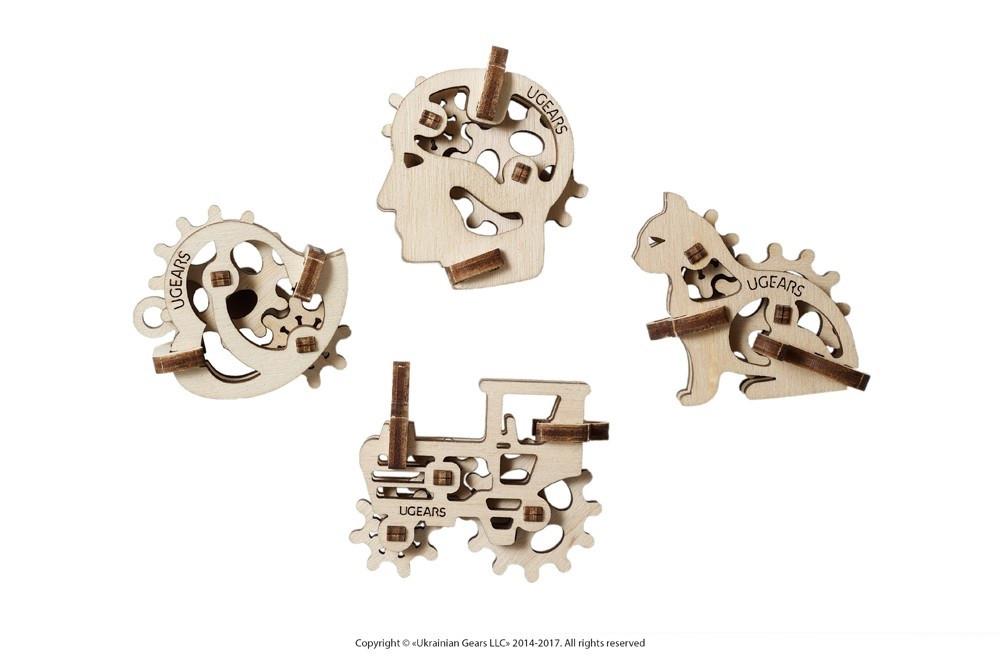 Фиджеты Трибики. Набор из 4 шт | UGEARS | Механический 3D конструктор из дерева