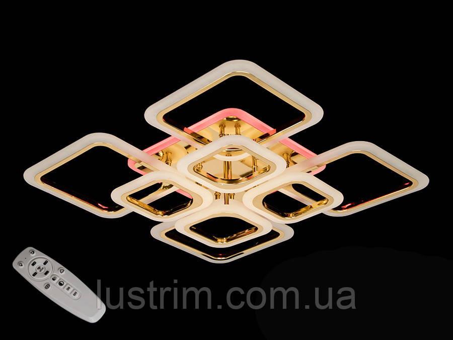 Светодиодная люстра с диммером и цветной подсветкой, цвет хром, 150W