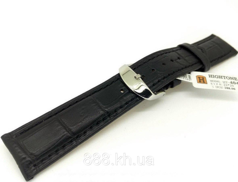 Ремешок для наручных часов кожаный Hightone HT-404 с классической застежкой, черный, 22x200 мм