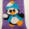 Махрові шкарпетки жіночі фіолетові з пінгвіном 35-41 розмір, фото 2