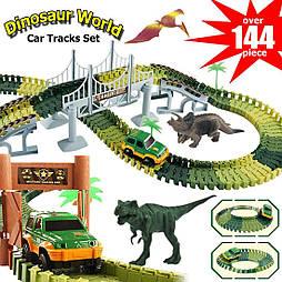 Автотрек с Динозаврами 2 метра и металлической машинкой. Диноленд Автомобильный трек