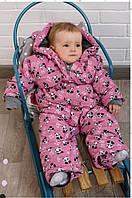 Зимний термокомбинезон на девочку Веселая Панда, 62 - 86 рост DC Kids, фото 1