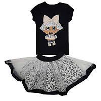 Костюм для девочки с куклой Лол  80-104 (1-4 года) кофта + юбка фатин