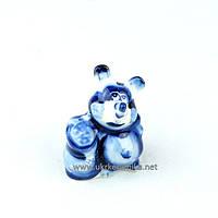 Мышка Мешок гжель 7х5 см - сувенир гжель украинского производства