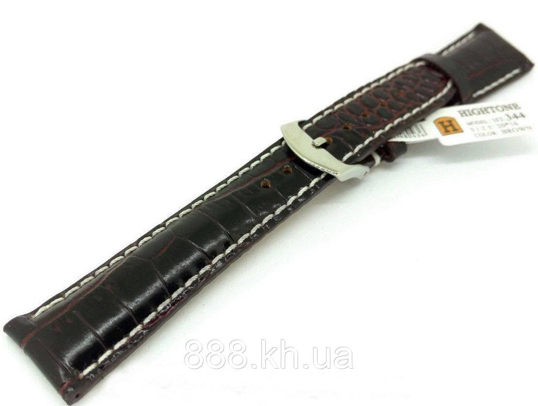 Ремешок для наручных часов кожаный Hightone HT-344 с классической застежкой, коричневый, 20x160 мм