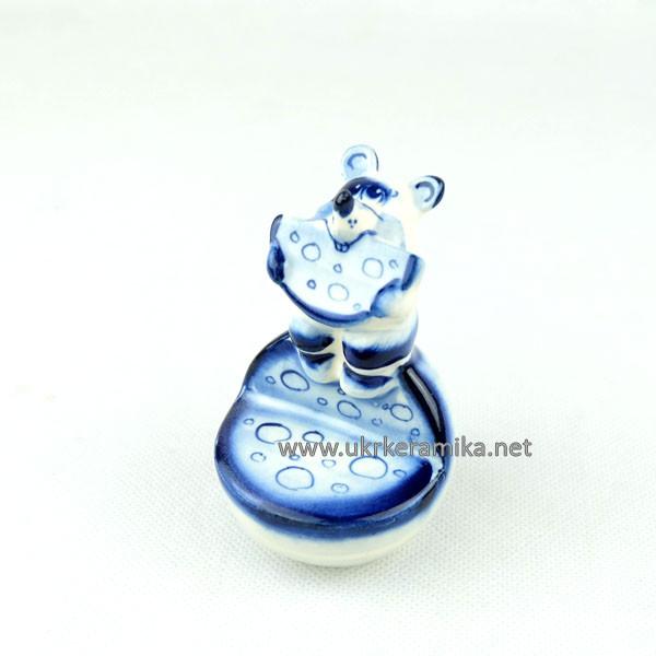 Мышка На сыре гжель 9х6 см - сувенир гжель украинского производства