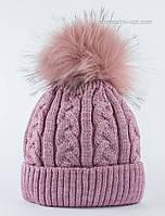 Зимняя шапочка с помпоном Грей светлая сирень