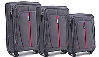Комплект тканевых  чемоданов  на 4 колеса  Серый