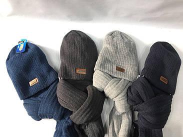 Шапка + шарф мужские шерстяные (от 5 шт) МИКС БЕЗ ВЫБОРА ЦВЕТА!!!