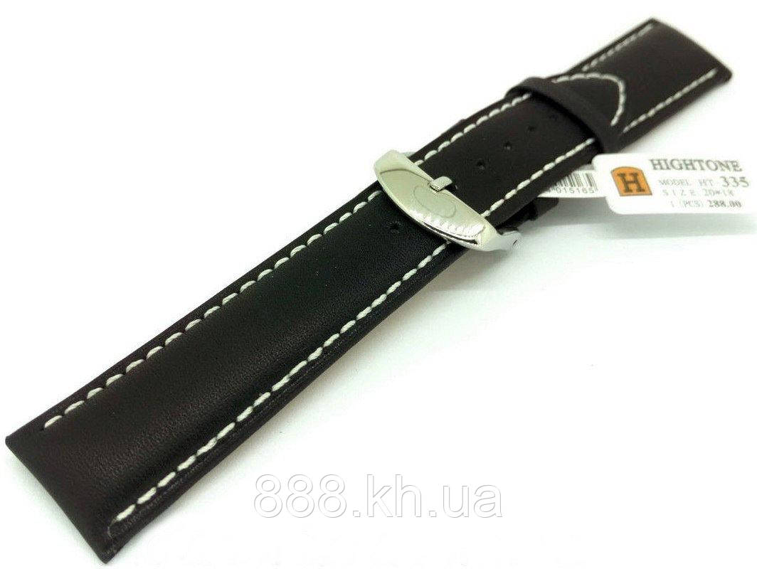 Ремешок для наручных часов кожаный Hightone HT-335 с классической застежкой, черный, 20x180 мм