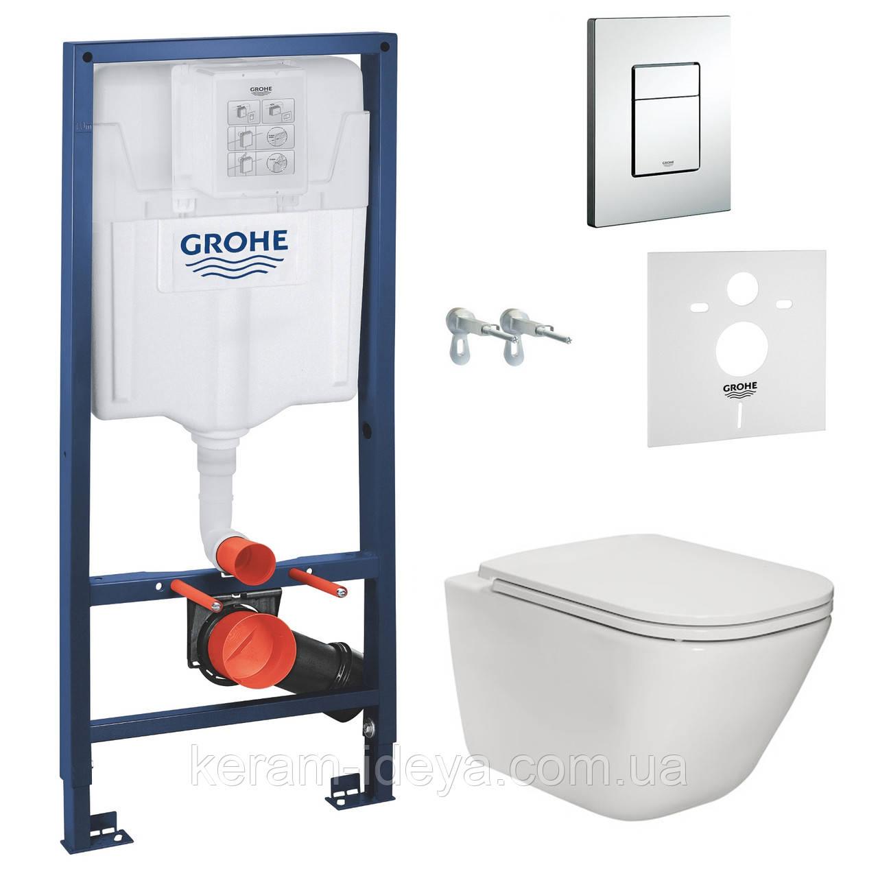 Комплект инсталляция Grohe 38772001 c унитазом Roca Gap Rimless A34H47000