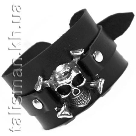 Браслет кожаный BKB-021 ремешок с черепом, фото 2