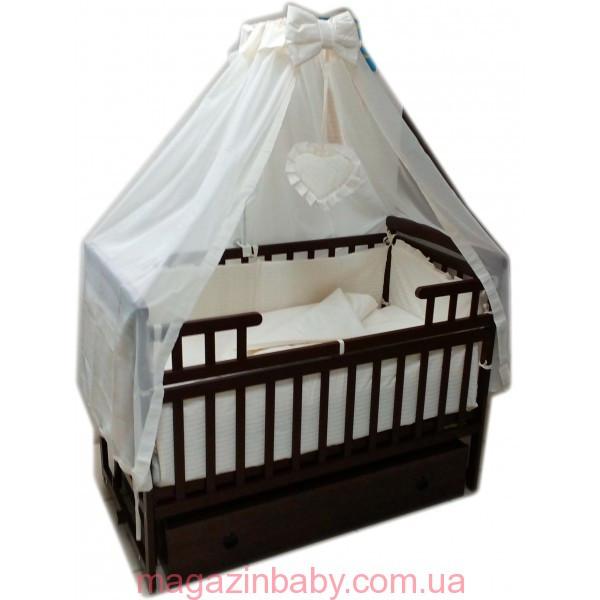 """Комплект для сна """"Карапуз темная"""". Кроватка маятник с ящиком, матрас кокос, постельный набор 8 эл."""