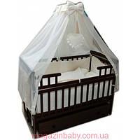 """Комплект для сна """"Карапуз темная"""". Кроватка маятник с ящиком, матрас кокос, постельный набор 8 эл., фото 1"""