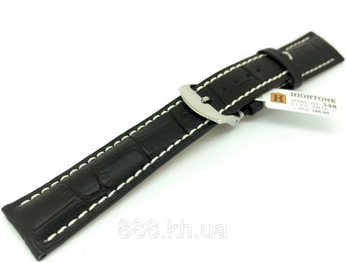 Ремешок для наручных часов кожаный Hightone HT-348 с классической застежкой, черный, 20x180 мм