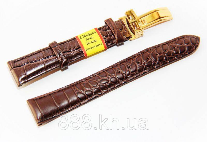 Ремешок для наручных часов кожаный Modeno Spain с классической застежкой клипсой, коричневый, 18 мм