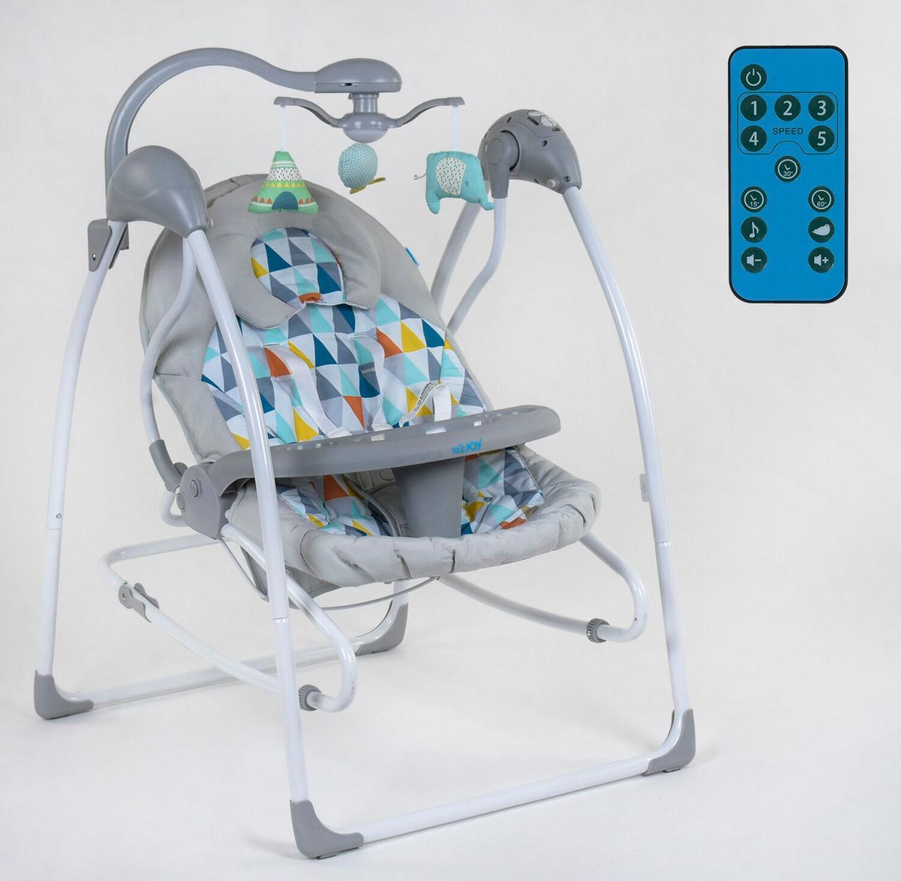 Электронные качели 3в1 СХ-40460 JOY качели, шезлонг, карусель, пульт д/у, работают от сети 220V и батареек