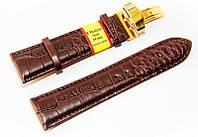 Ремешок для наручных часов кожаный Modeno Spain с классической застежкой клипсой, коричневый, 24 мм