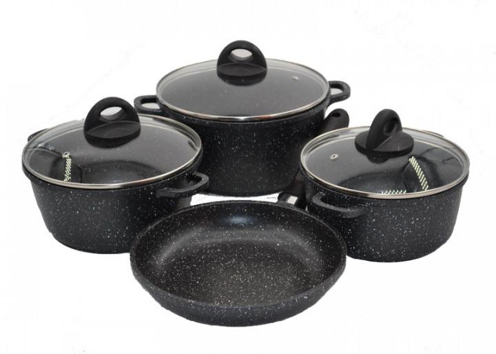 Набор посуды Benson BN-313 из литого алюминия с мраморным покрытием 7 предметов