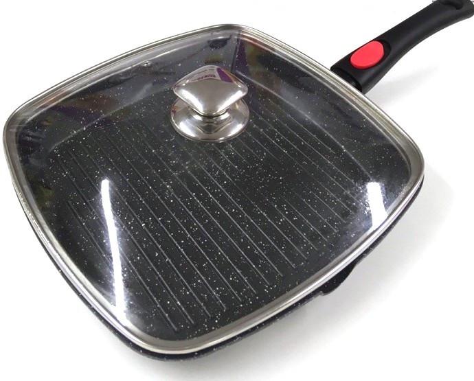 Сковородка-гриль Benson BN-314 28*28 см со съемной ручной и крышкой