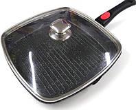 Сковородка-гриль Benson BN-314 28*28 см со съемной ручной и крышкой, фото 1