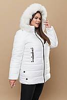 Женская зимняя куртка в больших размерах с капюшоном и опушкой 3115319