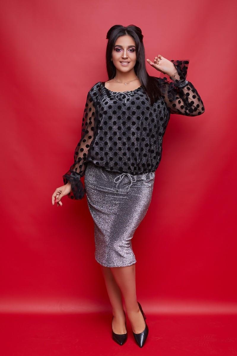 Женский нарядный юбочный костюм большого размера .Размеры:50-56.+Цвета