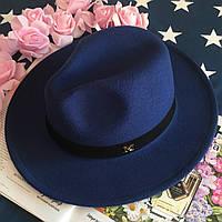 Шляпа Федора унисекс с устойчивыми полями в стиле Maison Michel темно синяя, фото 1