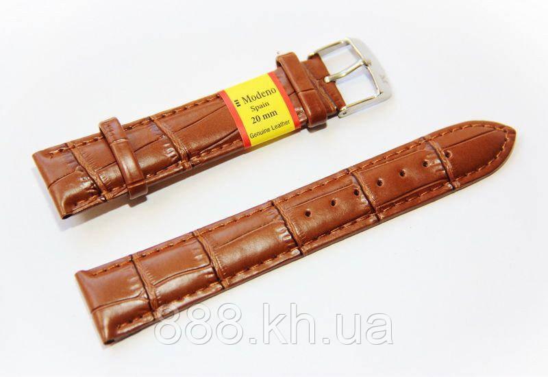 Ремешок для наручных часов кожаный Modeno Spain с классической застежкой, коричневый, 20 мм