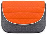 Коляска Adamex Prince X-12 серый лен - оранжевая кожа (серая рама), фото 4